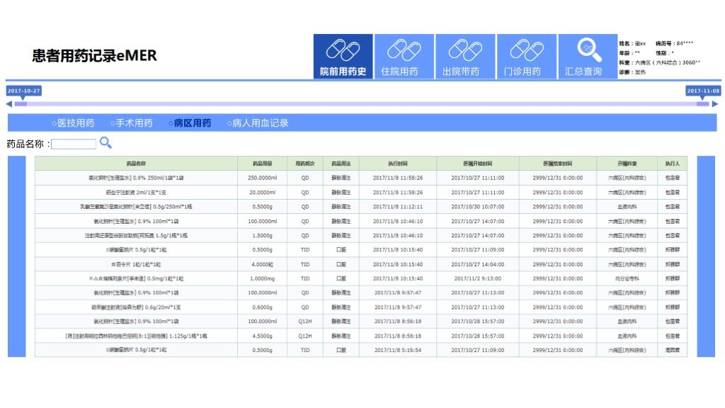 eMRA患者用药记录